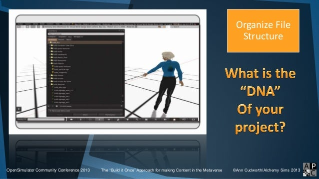 """OpenSimulator Community Conference 2013 The """"Build it Once"""" Approach for making Content in the Metaverse ©Ann Cudworth/Alc..."""