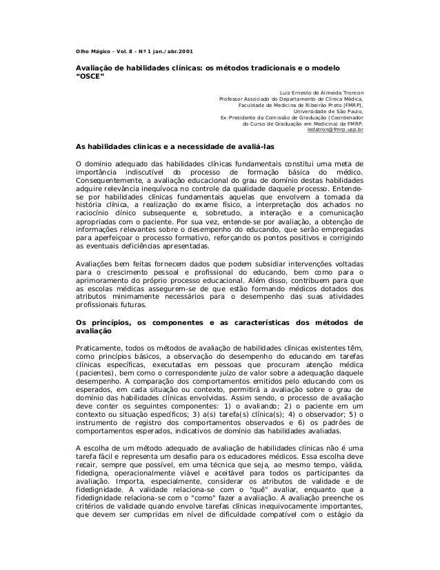 """Olho Mágico - Vol. 8 - Nº 1 jan./abr.2001  Avaliação de habilidades clínicas: os métodos tradicionais e o modelo """"OSCE"""" Lu..."""