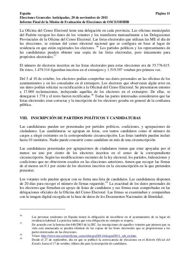 Osce informe elecciones generales espa a 20 de noviembre for Oficina del censo electoral madrid