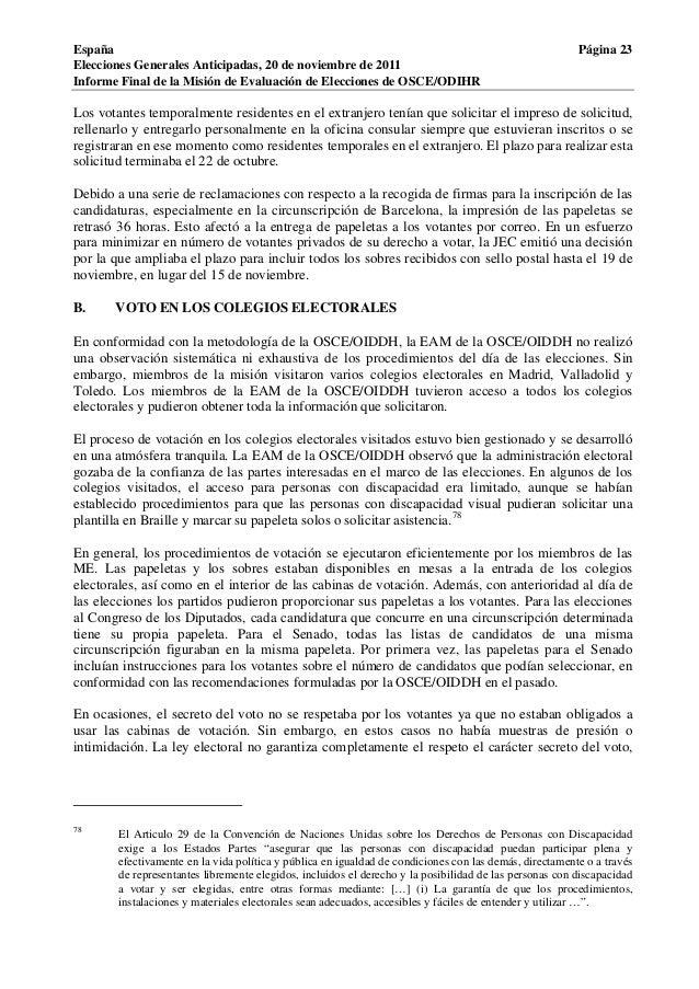 Osce informe elecciones generales espa a 20 de noviembre for Oficina censo electoral barcelona