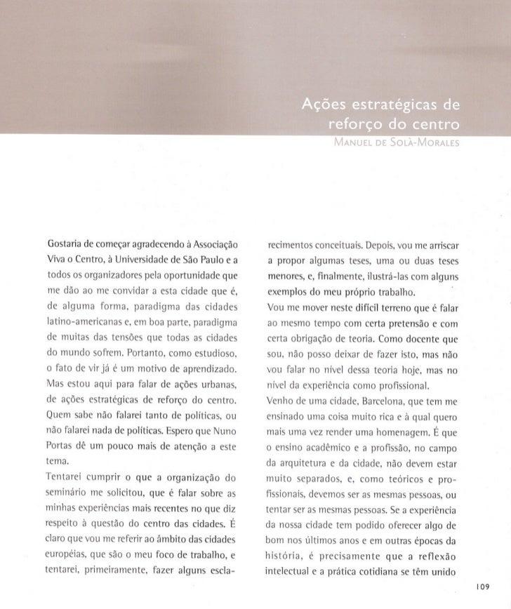 Manoel de Sola Morales - Centro das Metrópoles - ações estratégicas
