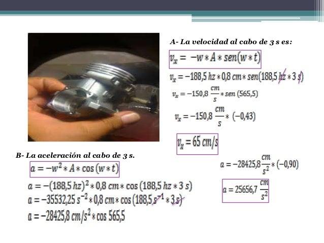 A- La velocidad al cabo de 3 s es:B- La aceleración al cabo de 3 s.