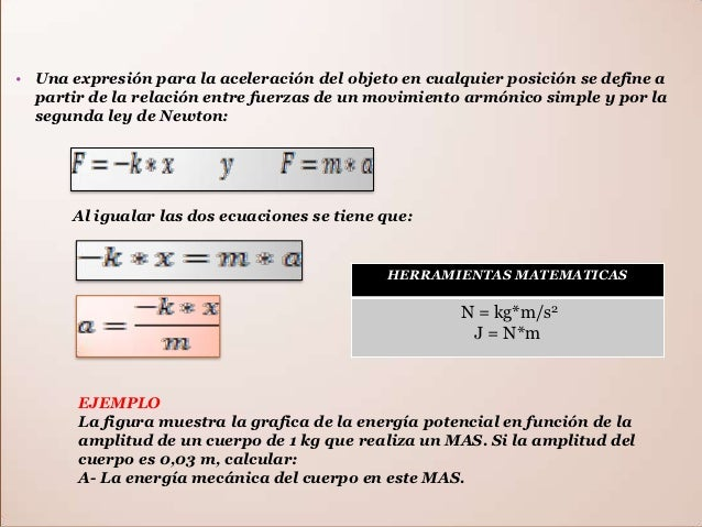 • B- La constante de restitución del movimiento.• C- El periodo de oscilación.• D- La energía cinética en la posición x = ...