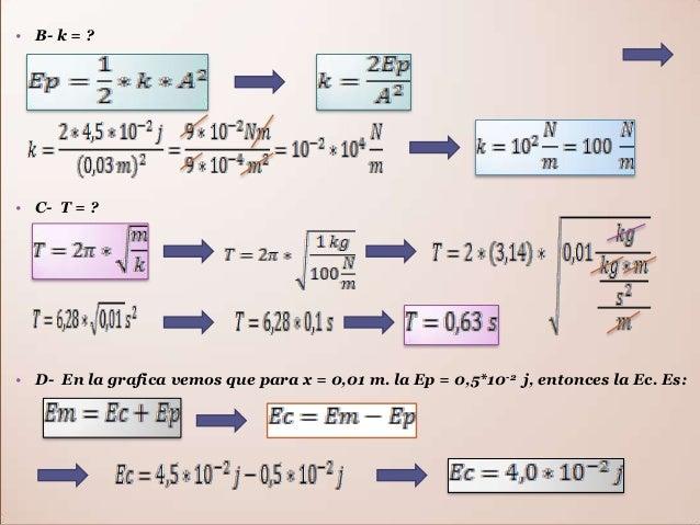 • La velocidad para la posición x = 0,01 m es: