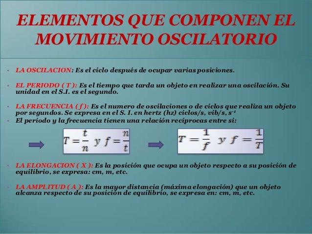 ELEMENTOS QUE COMPONEN EL    MOVIMIENTO OSCILATORIO• LA OSCILACION: Es el ciclo después de ocupar varias posiciones.• EL P...
