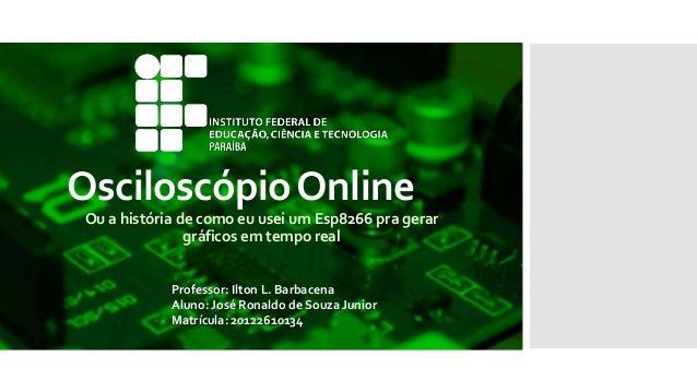 OsciloscópioOnline Ou a história de como eu usei um Esp8266 pra gerar gráficos em tempo real Professor: Ilton L. Barbacena...