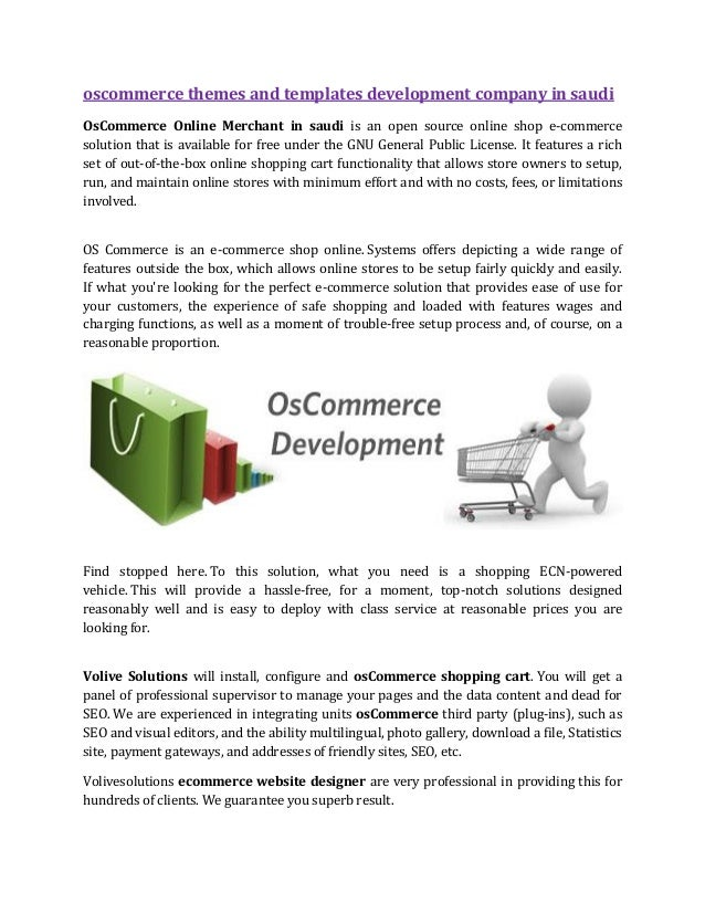 OsCommerce Themes And Templates Development Company in Saudi Arabia