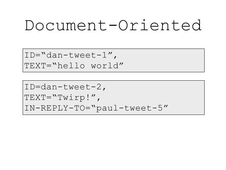 """Document-Oriented ID=""""dan-tweet-1"""", TEXT=""""hello world""""  ID=dan-tweet-2, TEXT=""""Twirp!"""", IN-REPLY-TO=""""paul-tweet-5"""""""