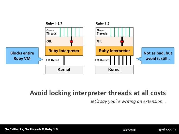 Blocks entire<br />Ruby VM<br />Not as bad, but<br />avoid it still..<br />Avoid locking interpreter threads at all costs<...