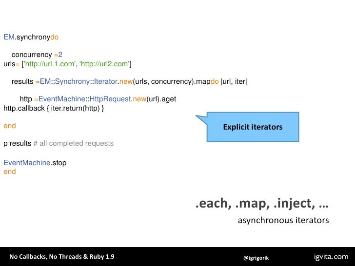 em-http-request: .get, etc are synchronous, while .aget, etc are async