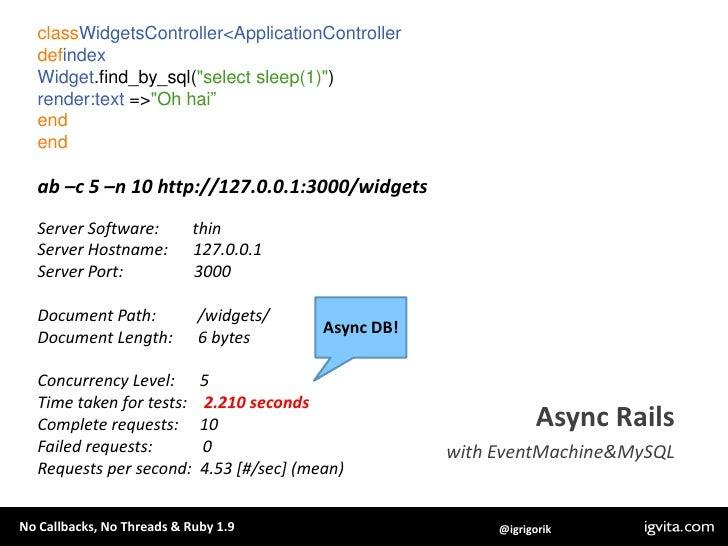 """require""""em-synchrony/em-mysqlplus""""<br />EventMachine.synchronydo<br />    db =EventMachine::MySQL.new(host:""""localhost"""")<br..."""