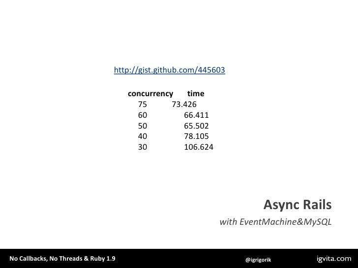 """require """"em-synchrony/em-mysqlplus""""<br />EventMachine.synchrony do<br />    db = EventMachine::MySQL.new(host: """"localhost""""..."""