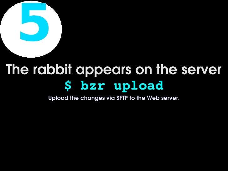 5 Therabbitappearsontheserver         $bzrupload       UploadthechangesviaSFTPtotheWebserver.             ...
