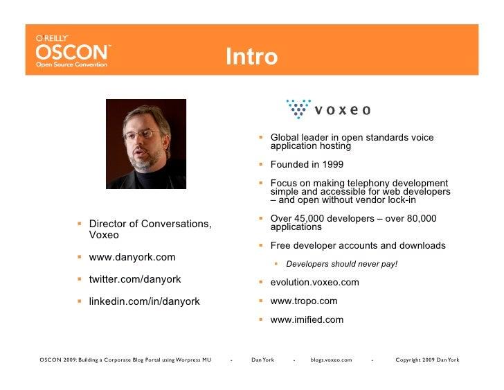 OSCON 2009: Building a Corporate Blog Portal using WordPress MU (WPMU) Slide 2