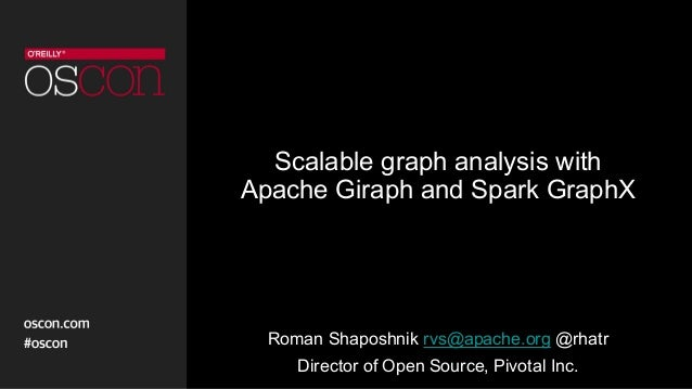 Scalable graph analysis with Apache Giraph and Spark GraphX Roman Shaposhnik rvs@apache.org @rhatr Director of Open Source...