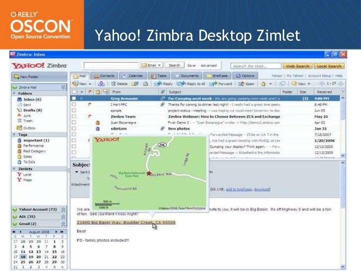 Yahoo! Zimbra Desktop Zimlet