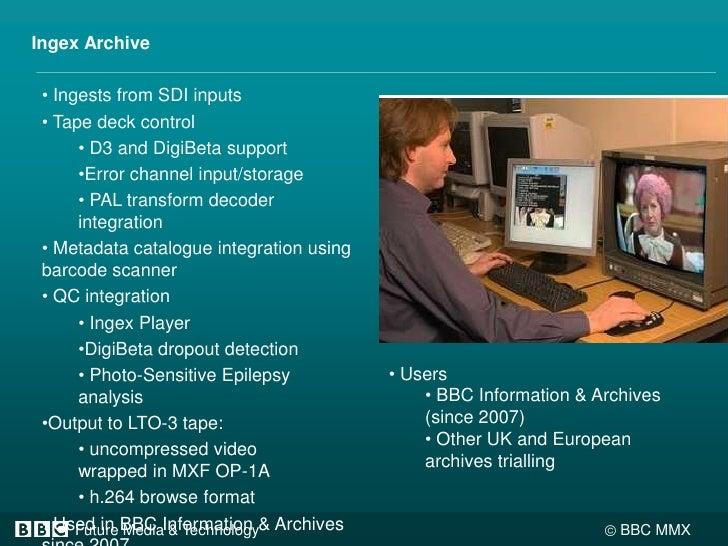 Ingex Archive<br /><ul><li> Ingests from SDI inputs