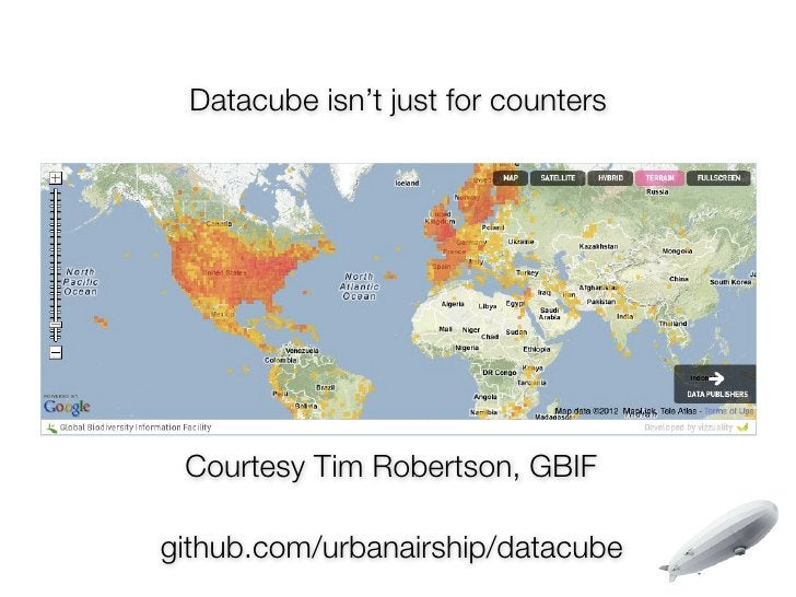 Datacube isn't just for counters Courtesy Tim Robertson, GBIFgithub.com/urbanairship/datacube