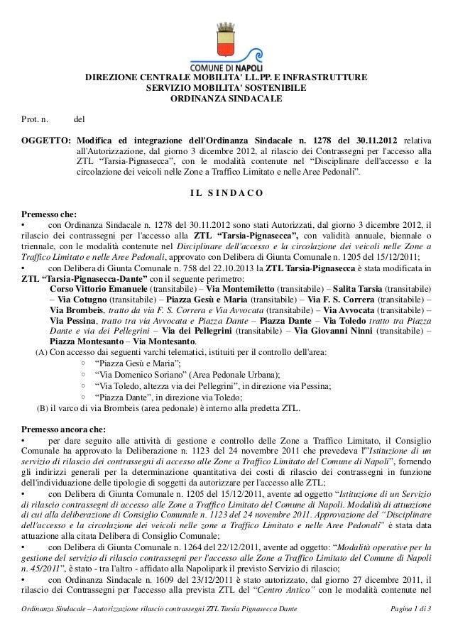 DIREZIONE CENTRALE MOBILITA' LL.PP. E INFRASTRUTTURE SERVIZIO MOBILITA' SOSTENIBILE ORDINANZA SINDACALE Prot. n.  del  OGG...