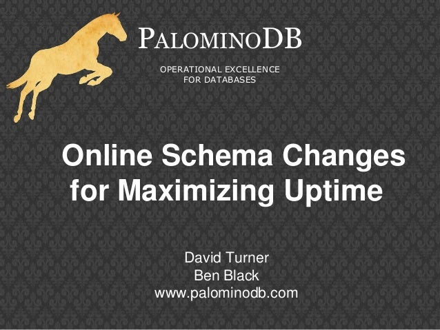 Online Schema Changesfor Maximizing UptimePALOMINODBOPERATIONAL EXCELLENCEFOR DATABASESDavid TurnerBen Blackwww.palominodb...