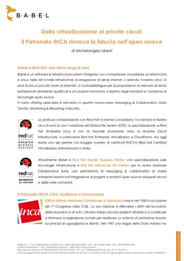 Dalla virtualizzazione al private cloud: il Patronato INCA rinnova la fiducia nell'open source di Michelangelo Uberti  Bab...