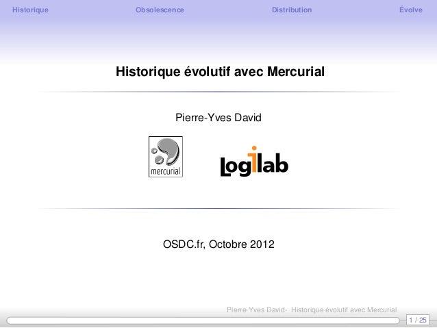 Historique      Obsolescence                    Distribution                               Évolve             Historique é...