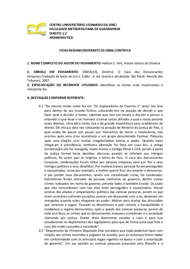 CENTRO UNIVERSITÁRIO LEONARDO DA VINCI FACULDADE METROPOLITANA DE GUARAMIRIM DIREITO 1.2 HERMENEUTICA FICHA RESUMO/REFEREN...