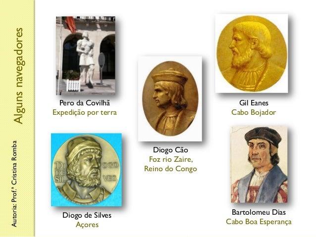 Alguns navegadores Autoria: Prof.ª Cristina Romba  Pero da Covilhã Expedição por terra  Gil Eanes Cabo Bojador  Diogo Cão ...