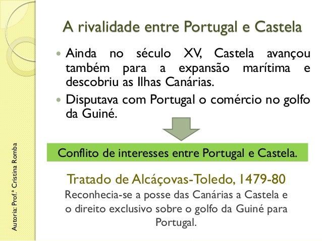 A rivalidade entre Portugal e Castela Ainda no século XV, Castela avançou também para a expansão marítima e descobriu as I...