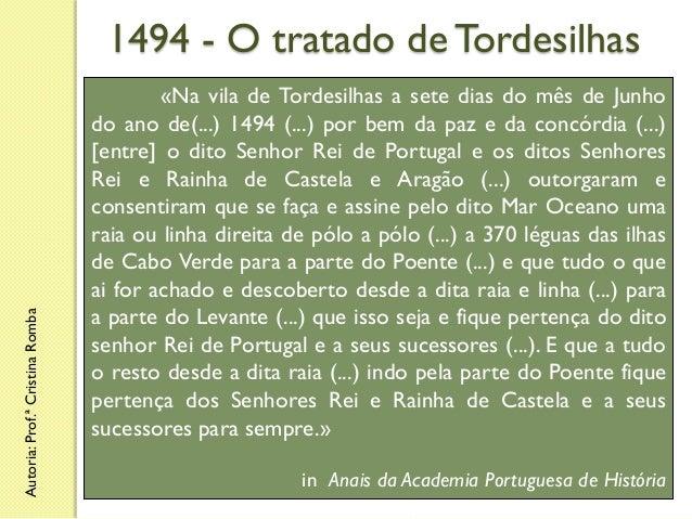 Autoria: Prof.ª Cristina Romba  1494 - O tratado de Tordesilhas «Na vila de Tordesilhas a sete dias do mês de Junho do ano...