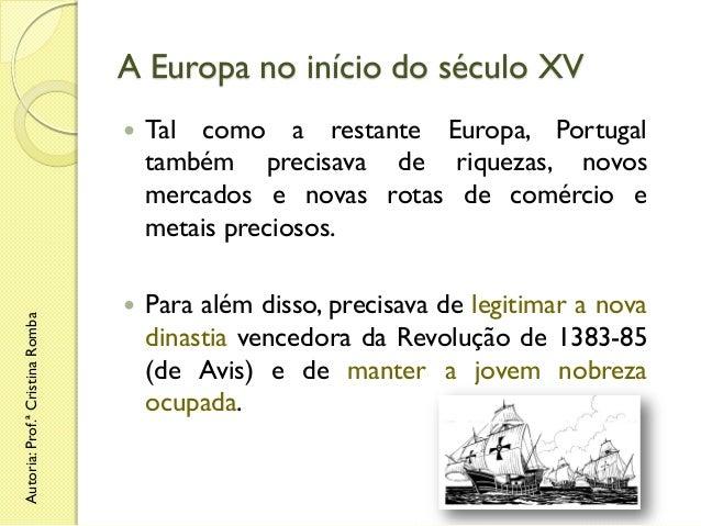 A Europa no início do século XV  Autoria: Prof.ª Cristina Romba    Tal como a restante Europa, Portugal também precisava ...
