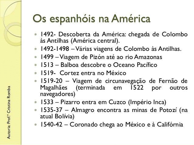 Os espanhóis na América   Autoria: Prof.ª Cristina Romba            1492- Descoberta da América: chegada de Colom...