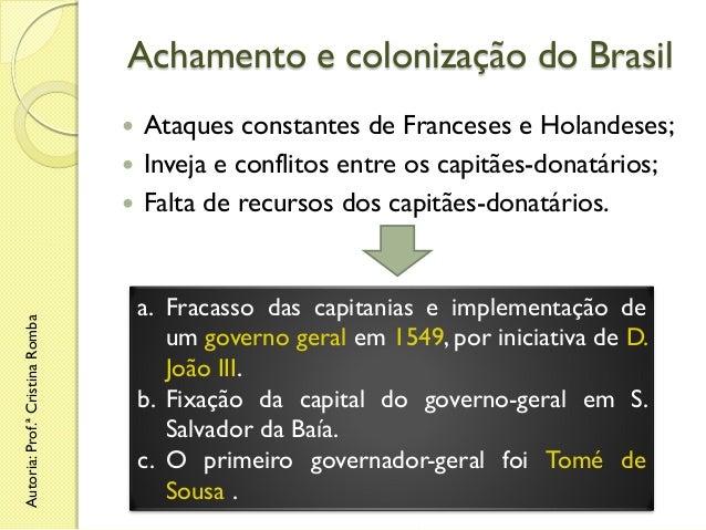 Achamento e colonização do Brasil Ataques constantes de Franceses e Holandeses;  Inveja e conflitos entre os capitães-don...