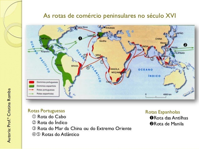 As rotas de comércio peninsulares no século XVI           Autoria: Prof.ª Cristina Romba    Rotas Portuguesas  Rot...