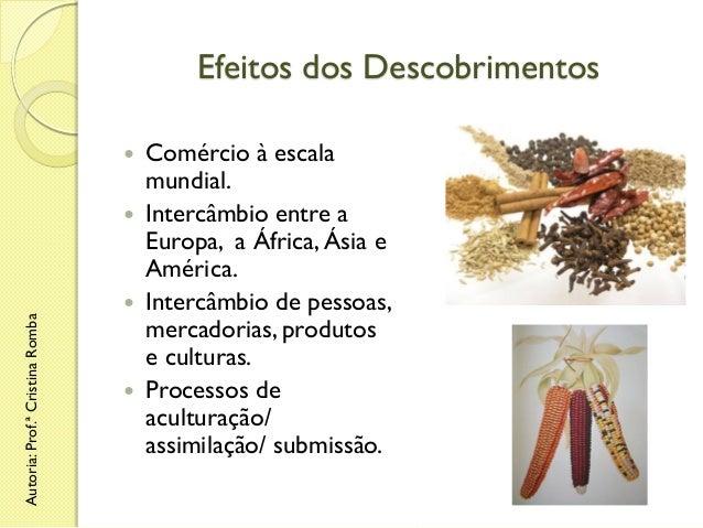 Efeitos dos Descobrimentos   Autoria: Prof.ª Cristina Romba        Comércio à escala mundial. Intercâmbio entre a Euro...