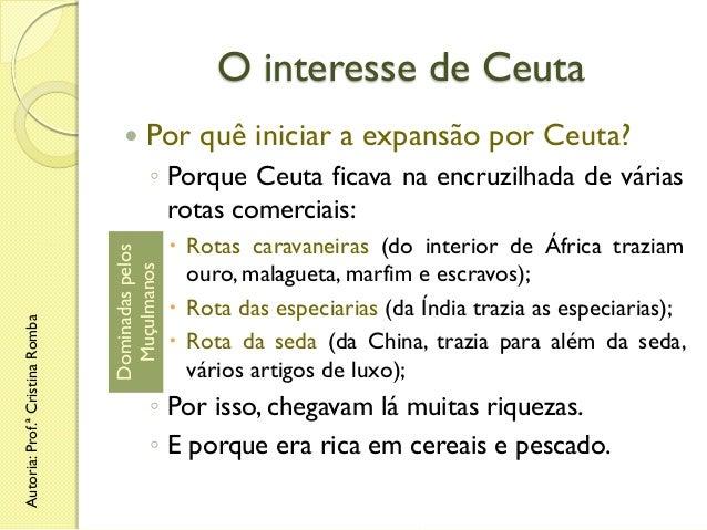 O interesse de Ceuta   Por quê iniciar a expansão por Ceuta?  Dominadas pelos Muçulmanos  Autoria: Prof.ª Cristina Romba ...