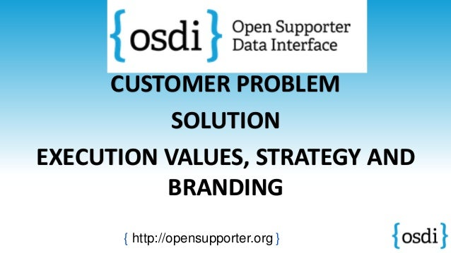 CUSTOMER PROBLEM SOLUTION EXECUTION VALUES, STRATEGY AND BRANDING { http://opensupporter.org }