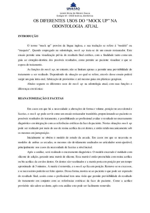 """Lorem Krsna de Morais Sousa Estágio VI – OSCE teórico, dentística OS DIFERENTES USOS DO """"MOCK UP"""" NA ODONTOLOGIA ATUAL INT..."""