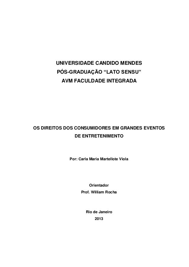 """UNIVERSIDADE CANDIDO MENDES PÓS-GRADUAÇÃO """"LATO SENSU"""" AVM FACULDADE INTEGRADA  OS DIREITOS DOS CONSUMIDORES EM GRANDES EV..."""
