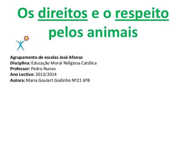 Os direitos e o respeito pelos animais Agrupamento de escolas José Afonso Disciplina: Educação Moral Religiosa Católica Pr...