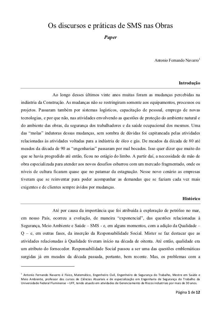 Os discursos e práticas de SMS nas Obras                                                          Paper                   ...