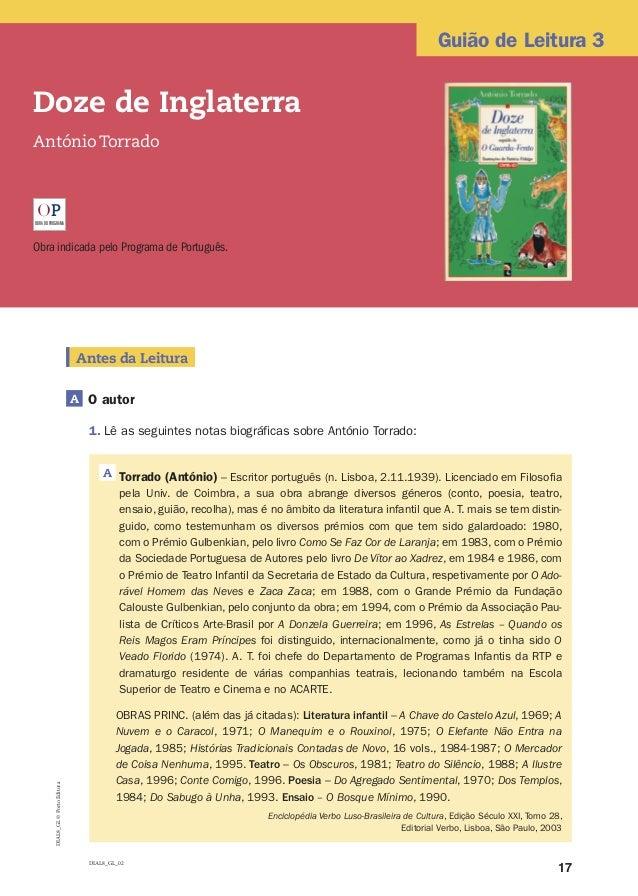 17 Guião de Leitura 3 DIAL8_GL©PortoEditora Doze de Inglaterra António Torrado OBRADOPROGRAMA OP Obra indicada pelo Progra...
