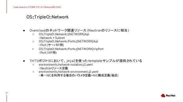 OS::TripleO::Network Tripleo Deep Dive: THT詳解: THTにおけるNetwork設定方法(1) ● Overcloudのネットワーク関連リソース (Neutronのリソースに相当) ○ OS::Trip...