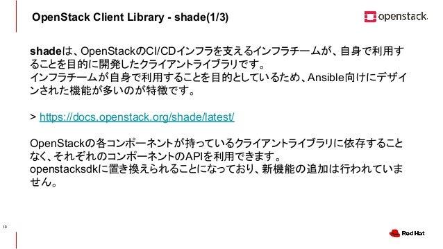CONFIDENTIAL OpenStack Client Library - shade(1/3) shadeは、OpenStackのCI/CDインフラを支えるインフラチームが、自身で利用す ることを目的に開発したクライアントライブラリです。...