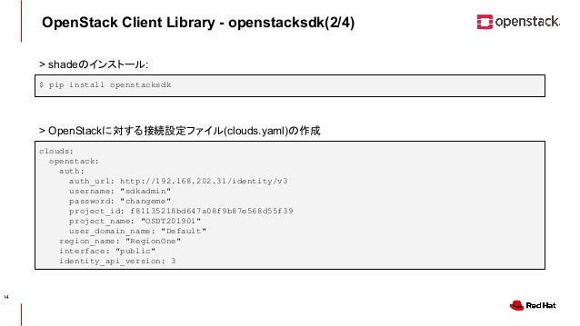 CONFIDENTIAL OpenStack Client Library - openstacksdk(2/4) $ pip install openstacksdk clouds: openstack: auth: auth_url: ht...