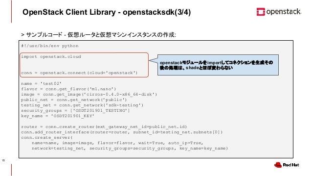 CONFIDENTIAL OpenStack Client Library - openstacksdk(3/4) #!/usr/bin/env python import openstack.cloud conn = openstack.co...