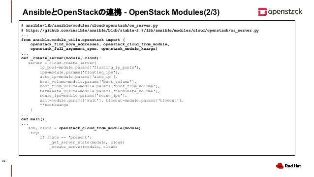 CONFIDENTIAL AnsibleとOpenStackの連携 - OpenStack Modules(2/3) # ansible/lib/ansible/modules/cloud/openstack/os_server.py # ht...