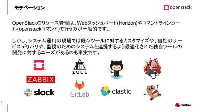 CONFIDENTIAL モチベーション OpenStackのリソース管理は、Webダッシュボード(Horizon)やコマンドラインツー ル(openstackコマンド)で行うのが一般的です。 しかし、システム運用の現場では既存ツールに対するカ...