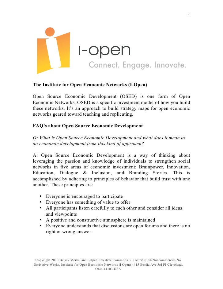1     The Institute for Open Economic Networks (I-Open)  Open Source Economic Development (OSED) is one form of Open Econo...