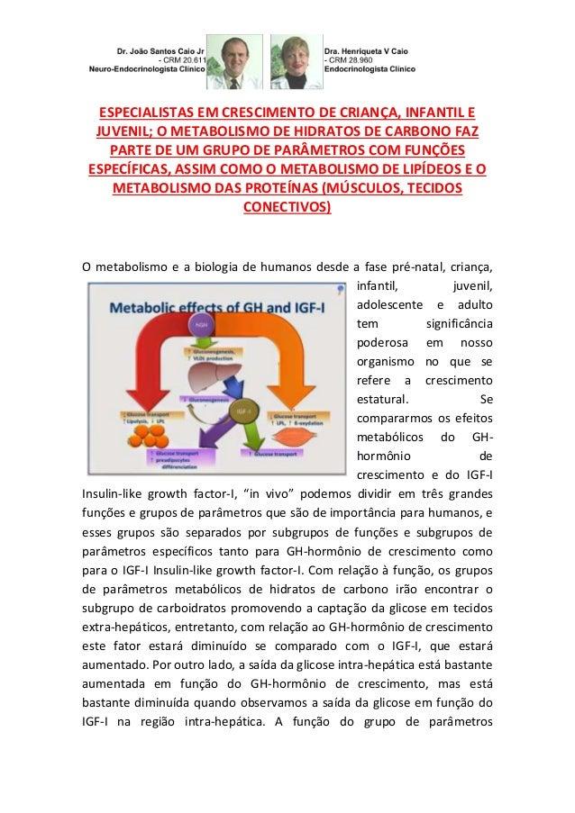 ESPECIALISTAS EM CRESCIMENTO DE CRIANÇA, INFANTIL E JUVENIL; O METABOLISMO DE HIDRATOS DE CARBONO FAZ PARTE DE UM GRUPO DE...